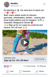 Example of an eye catching, engaging Facebook ad